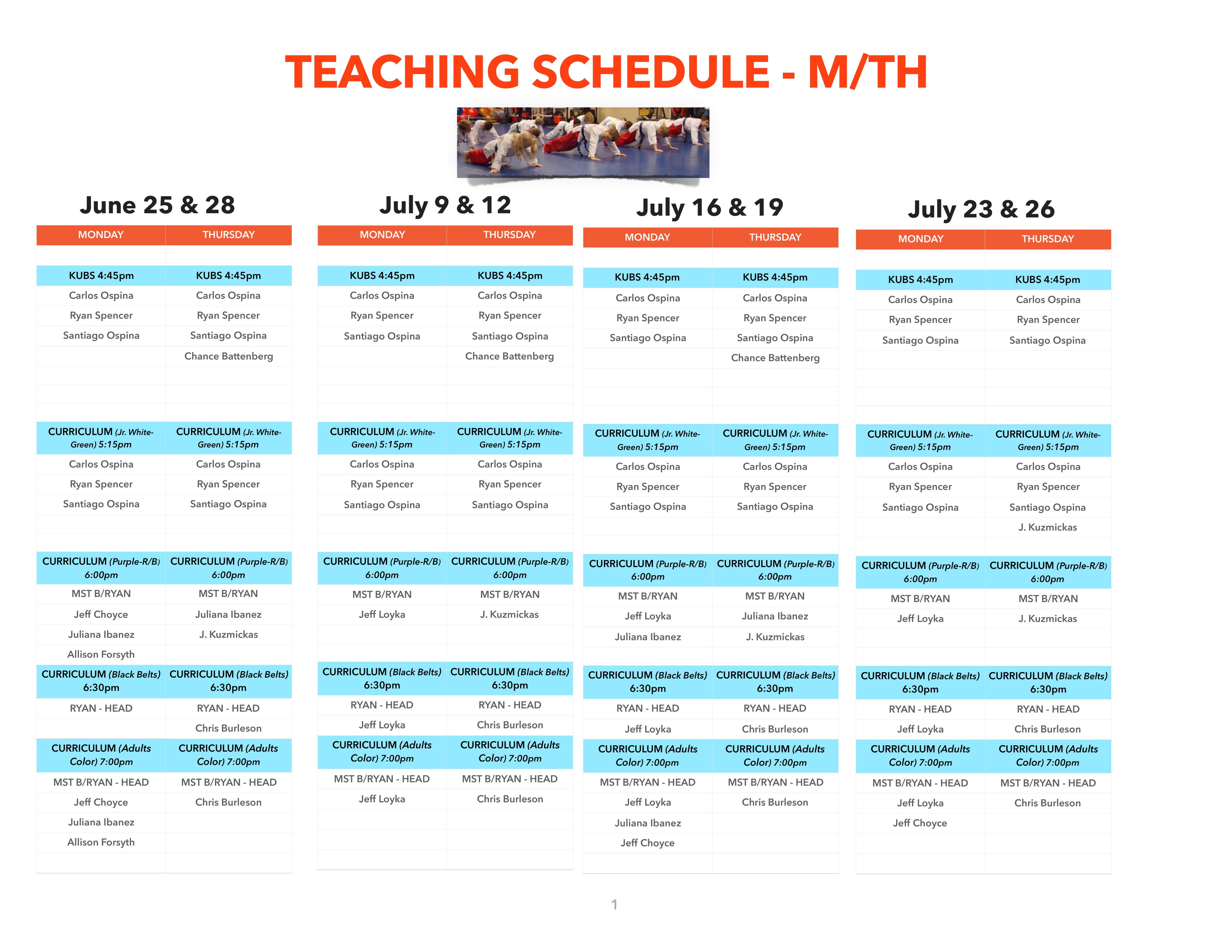 TeachingScheduleMonThurJuly2018-1